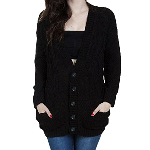 FeiTong cardigan à manches longues - Hauts - Femme - Sweat-Shirt Pull Pullover Noir