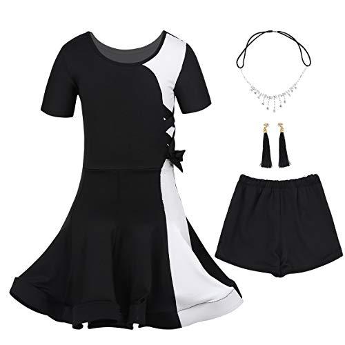 941c9d7cf5fe CHICTRY Cherry Mädchen Tanzkleid Latein Kleid Gesellschaftstanz Kleider Set  Kinder Tanz Performance-Kostüme Dancewear Kopfbedeckung Ohrringe Schwarz ...