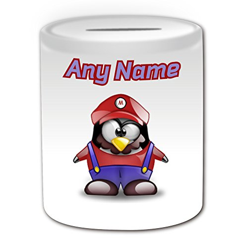 Personalisiertes Geschenk – Mario Spardose (Pinguin Video Spiel Charakter Kostüm Design Thema, weiß) – alle Nachricht/Name auf Ihre einzigartige – Silly Funny Neuheit kawaii Cartoon Anime Animation Art Clipart Episode Serie Japan japanische Zeichnen Malen Superheld (Super Mario Pilz Kostüm Bros)