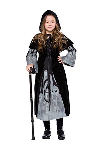 Deluxe Hexenkostüm Vampirin Königin Kostüme Cosplay für Fasching Halloween Kinder Mädchen Schwarz M (Vampir Königin Kind Halloween Kostüm)