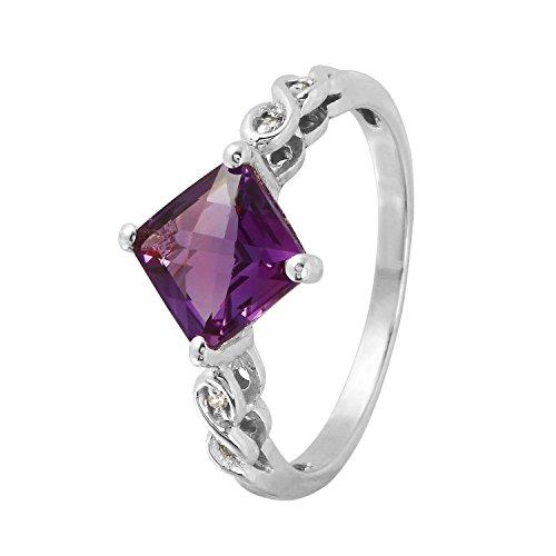 1.52diamond anello in oro bianco 14carati ametista naturale per le donne