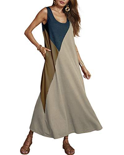 YOINS Femme Robe Longue Été sans Manches Robe Maxi Longue Chic Patchwork Robe De Plage Femme Boheme Col Rond, Beige, EU 36-38