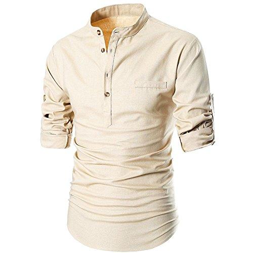 Bold Manner Herren Hemd Langarm Shirt Business Slimhemd Freizeit Kleidung keine Kragen Kaki (Karierte Clown Schuhe)