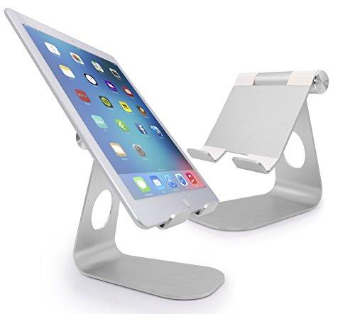 MyGadget Aluminium Tablet & E-Reader Ständer - Verstellbare Stand Halterung Tisch Halter für z.B. Apple iPad Pro, Air, Mini/Galaxy Tab A, S2 - Silber