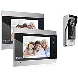 TMEZON Vidéo Interphone Visiophone Portier,2*7 pouces LCD Moniteur Écran Tactile,Sonnette de Caméra 1200TVL Filaire Vision Nocturne,Imperméable,Audio/Vidéo bidirectionnelle,Enregistrement/Instantané