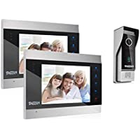 TMEZON Video Türsprechanlage Türklingel Intercom System, Türsprechanlage mit 7 Zoll 2-Monitor 1-Kamera Für 1-Familienhaus, Touch-Taste, Nachtsicht, Unterstützung automatisch Snapshot/Aufnahme