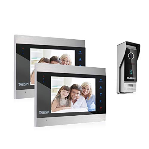 TMEZON Video Türsprechanlage Türklingel Intercom System, Türsprechanlage mit 7 Zoll 2-Monitor 1-Kamera Für 1-Familienhaus, Touch-Taste, Nachtsicht, Unterstützung automatisch Snapshot/Aufnahme (Sicherheit-video-monitor)
