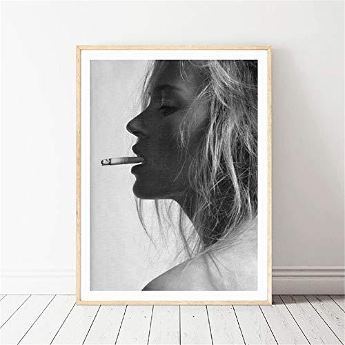 Danjiao Kate Moss Rauchen Mode Poster Wandkunst Drucke Schwarz Und Weiß Supermodel Foto Leinwand Malerei Wandbild Modernes Dekor Wohnzimmer 40x60cm