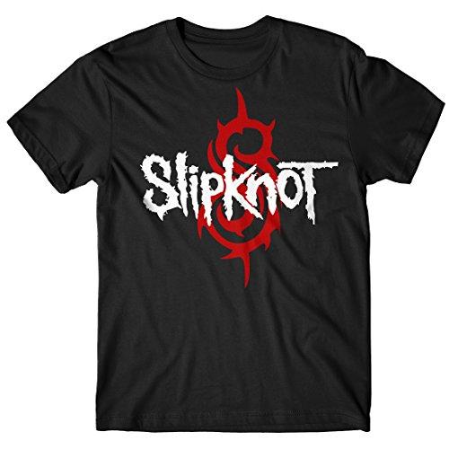 T-shirt Uomo Slipknot - S logo Maglietta 100% cotone LaMAGLIERIA,XL, Nero