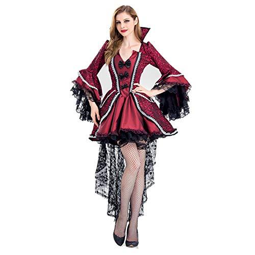 Vamp Kleid (Zygeo - Deluxe Halloween Sexy Erwachsene Frauen Vampir Kostüme Victorian Vamp-Fantasie-Partei-Kleid Hexe Weibliche Kostüme Zombie Uniformen [S 4])