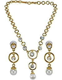 Silvestoo India Pink & Cubic Zircon Gemstone Gold Plated Necklace & Earring Set For Women & Girls PG-125345