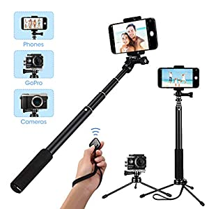 Mpow Selfie Stick Tripod, ALL IN ONE Selfie Stick Monopod with Bluetooth Remote for iPhone XS MAX XR X 8 8 Plus 7 7 Plus Galaxy S9 S8 S7 S6 Note 8 for Gopro Small Cameras - Extendable Portable