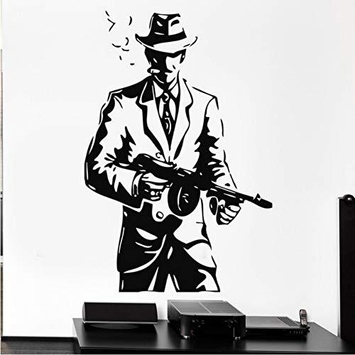 Ayhuir Gangster Hut Gun Waffen Mafia Tommy-Gun Vinyl Wandtattoo Home Decor Art Removable Wandaufkleber 57X85 Cm