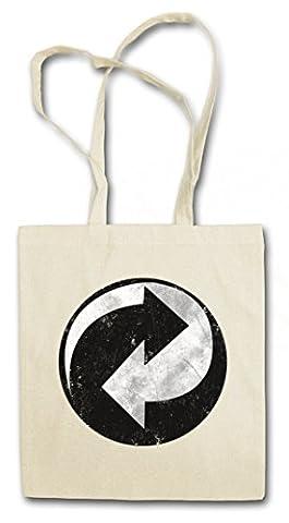 RECYCLING SYMBOL Réutilisable Pochette Sac De Courses en Coton Hipster Reusable Shopping Bag - Green Point Arrow The recyclage Recycle Big Punkt Bang TBBT Theory Logo