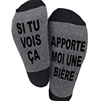 Les chaussettes fantasies sont fabriquées en matérial souple Les chaussettes d'hiver sont composées de coton polyester, les mots sont en tricot pour garder vos pieds au chaud en hiver froid.  Les chaussettes fantatises avec des phrases interessantes ...