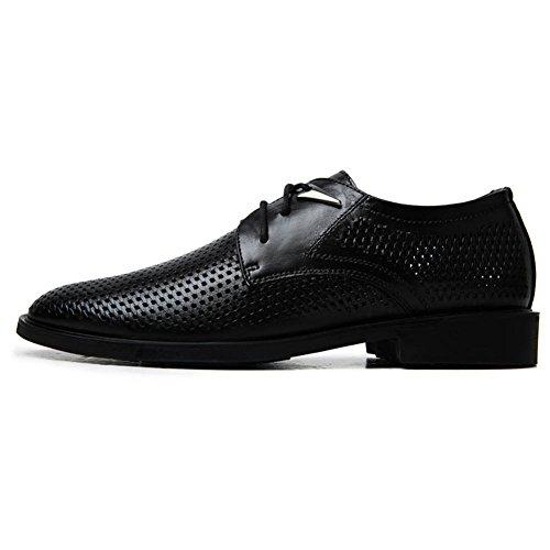 ailishabroy Leder Schuhe Herren Schwarz Sommer Atmungsaktiv Lace Up Oxford Geschäft Herren Schuhe Schwarz