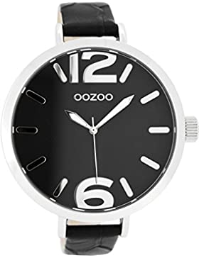 Oozoo Damenuhr mit Lederband 48 MM Schwarz/Schwarz Snake C7959