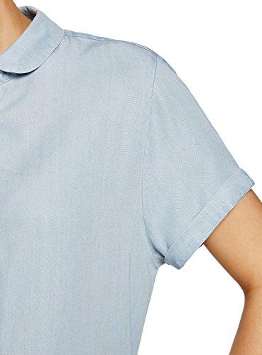 oodji Ultra Donna Camicia in Lyocell con Maniche Corte Blu (7000W)