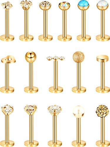 16 Stück 16g Edelstahl Nasenstecker Tragus Labret Nasen Lippen Piercing Sortierte Design Piercing Schmuck für Damen (Gold) (Piercing)