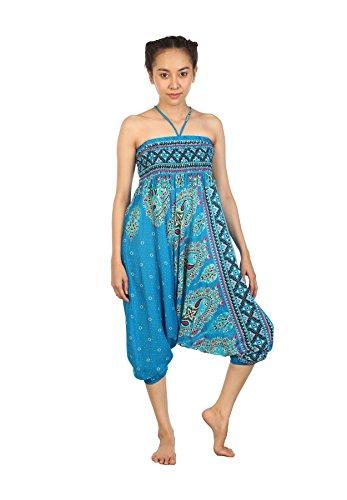Lofbaz Damen Hippie Boho Hose 2 in 1 Haremshose & Jumpsuit Aladinhose Pumphose Floral 2 Hellblau