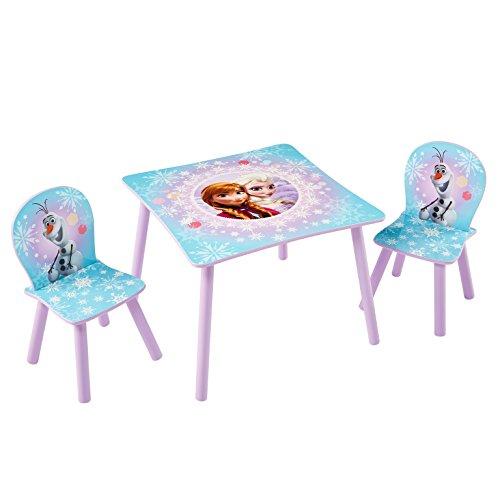 Familie24 3tlg. Holz Kindersitzgruppe Auswahl Sitzgruppe Frozen Cars Minnie Maus Mickey Maus Winnie Pooh Tisch + 2X Stuhl (Frozen - Die Eiskönigin)