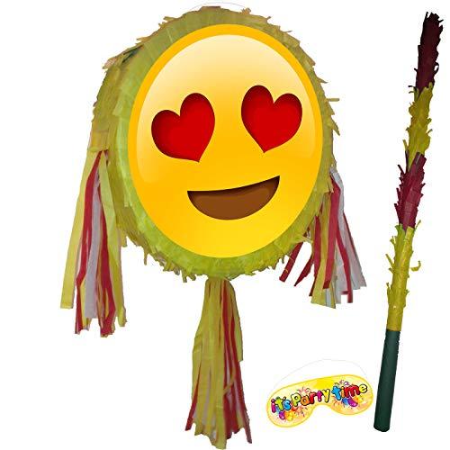 Emoji Liebe Herz Augen Pinata mit Stock (Mit Herz Augen Emoji)