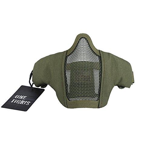 OneTigris Faltbare halbe Gesichtsschutz Maske Mesh Maske für Softair Paintball CS (Armee Grün) |MEHRWEG Verpackung