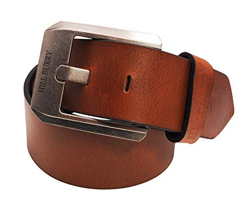 BelleBay Hill Burry - Cinturón de piel auténtica para hombre, piel de vacuno, 45 mm de ancho, acortable y sin níquel marrón 110 cm