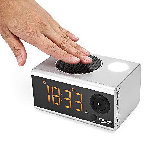 JHJX Bluetooth-Lautsprecher LED Wireless Uhr-Alarm Anzeige Bluetooth-Lautsprecher - TF-Karte - Radio Computer-Lautsprecher,White