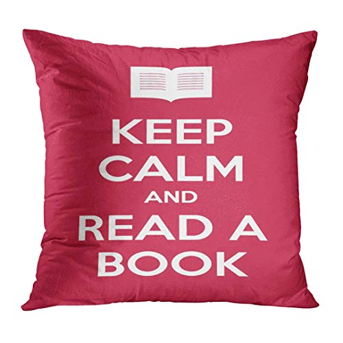 JIILWKIE Throw Pillow Cover Red Quote Keep Calm and Read Book Learn Author Edition Education Decorative Pillow Case Home Decor Square 18x18 Inches Pillowcase
