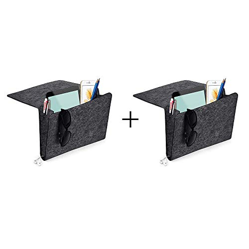 Yifen Filzbett Caddy mit Zwei Taschen Innen und seitlich Ladekabel Loch für Telefon, iPad, Buch, Stift, Glas, Fernbedienung, Spielzeug 24x27x8cm(Dunkelgrau 2pack)