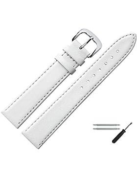 Uhrenarmband 12mm Leder weiss, feines echtes Rindleder - Marburger Uhrband inkl. Federstege & Werkzeug - passend...