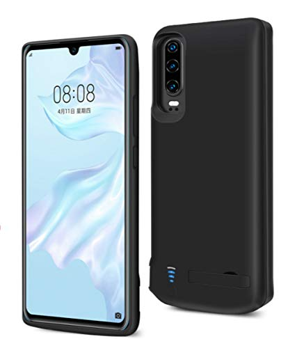 Fey-EU Akku Hülle für Huawei P30 [5000mAh] Tragbare Schutzhülle Ladehülle Erweiterter Akku Pack Ladegerät Hülle mit USB Power Bank & Kickstand für Huawei P30 - Schwarz