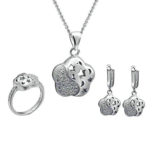 AMDXD Schmuck Sets Damen Ohrringe Halskette Ring Versilbert Stern Blume Zirkonia Silber Größe 57 (18.1)