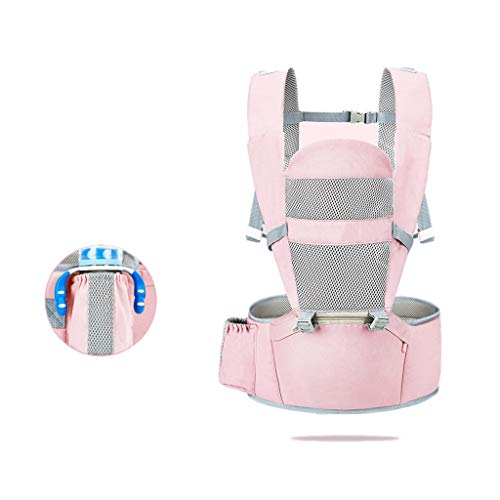 TMY 5 en 1 Portabebés Algodón Taburete para la Cintura Bebé Multifunción Frente Frontal Abrazo Cinturón Trasero Trasero Doble Uso Transpirable (Color : Pink)