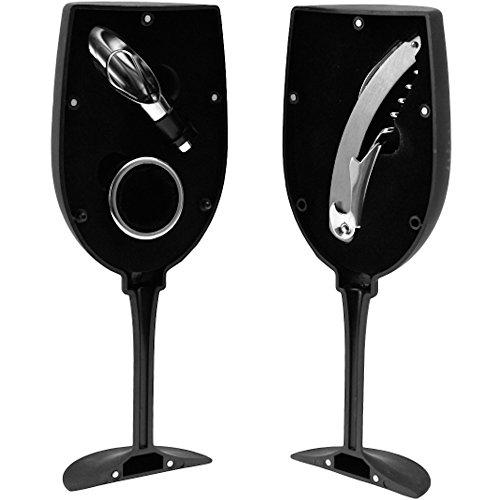 Incidenza 31381Kit Vino Vetro a piedi gigante Open Bar 3pezzi nero ABS e acciaio inossidabile