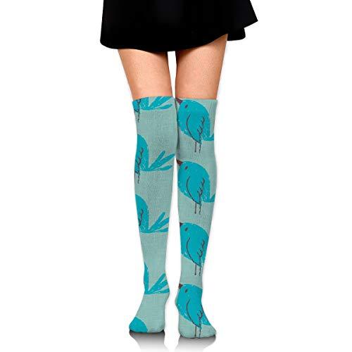 Knee High Socks Blue Bird On Teal Linen 23.6 Inchs Compression Sock Stockings For Women Girls -