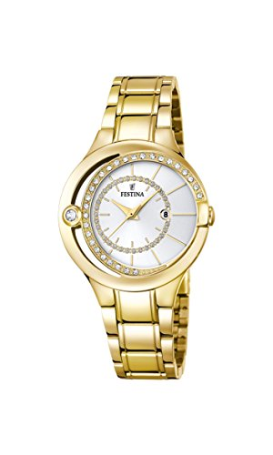 Festina MADEMOISELLE Women's Quartz Watch with Silver Dial Analogue Display and Gold Stainless Steel Gold Plated Bracelet F16948/1