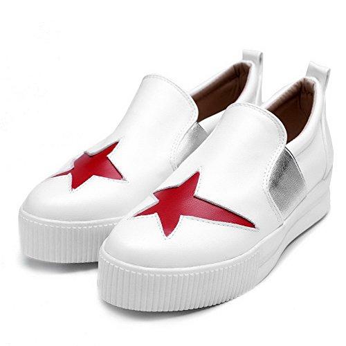 No Dedo Do Redondo Baixo Salto Sapatos Pé Branco Senhoras Bombas Puxar Voguezone009 Couro Pu 8pq70