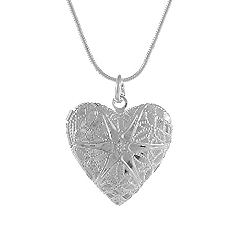 PROMOTIONS Heart Silver Plated Lockets Necklaces For Women Men Girls Heart Lockets Necklaces