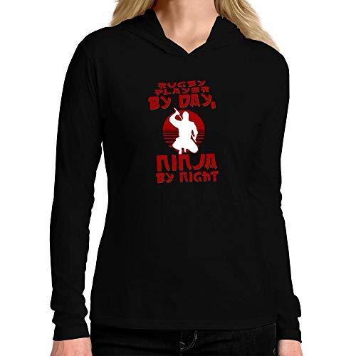 Idakoos Rugby Player by Day, Ninja by Night Damen Kapuze Langarm T-Shirt M -