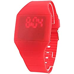 GSPStyle Mens Womens Digital LED Touch Screen Design Wrist Watch Bracelet Silicone Band Strap Colour Red