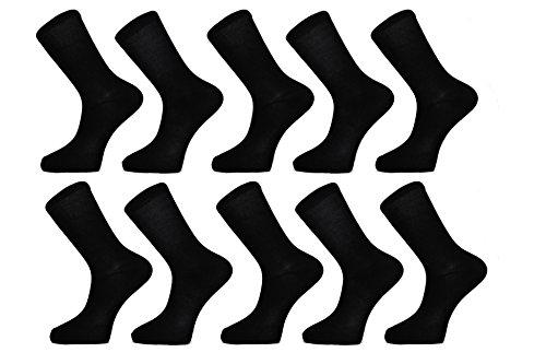 Calzini Nero Uomo (Confezione da 10) FM® Calzini Altezza Polpaccio Comodi, da Tutti i Giorni, Traspiranti - Design Semplice ed Elegante con Fascia Elasticizzata