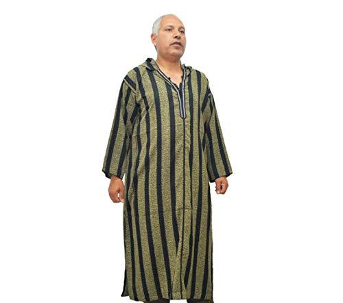 Djellaba oder Baumwollkaftan, Schwarze Farbe mit Kapuze, marokkanisches Modell für Männer. Breite zwischen Armlöchern unter den Achseln: 67 cm Länge 139 cm.