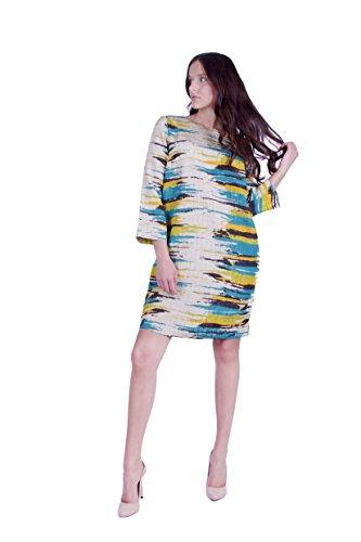 Basic Kleid aus hochwertigem Jacquard Stoff Beige