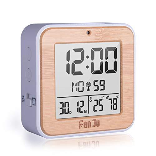 WOSOSYEYO Réveil à Grain de Bois Double Alarme électronique Compteur de température et d'humidité Fonction de répétition Multicolore en Option