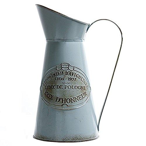 HyFanStr Französischer Stil, rustikaler Krug Vase Metall Krug Blume für Home Decor Vintage-bauernhaus