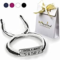 TMT® Personalised Couple Bracelets | Long Distance relationship | gift box package | Friendship His Hers |Anniversary gifts |Black &White blue&pink