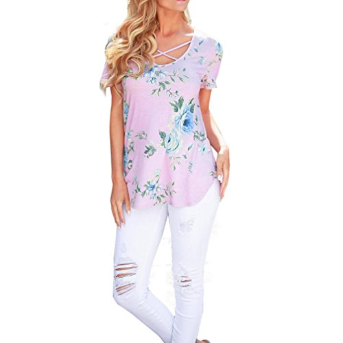 Familizo Blouse,Women Short Sleeve Flower Printed Blouse Casual Tops T Shirt (M, Pink)