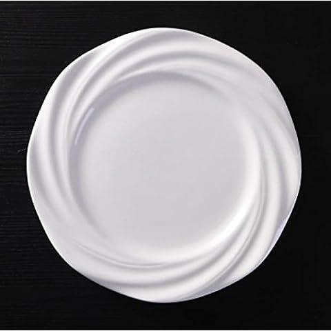 XQX10 pulgadas estilo occidental carne platos hueso hogar vajilla de cerámica blanco plato plato redondo bandeja plana mes CD , 10 inch